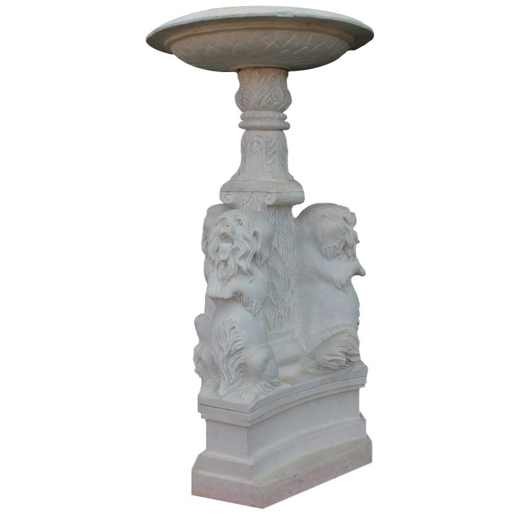 Whimsical English 19th-20th Century White Marble Figural Outdoor Dog Fountain For Sale