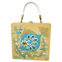 Whimsical Enid Collins Blonde Wood Jeweled Sea Life Themed Box Purse c 1960s