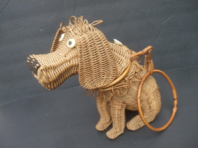 Whimsical Extremely Rare Handmade Artisan Wicker Canine