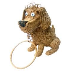 Whimsical Extremely Rare Handmade Artisan Wicker Canine Handbag circa 1950s