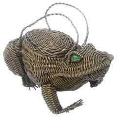 Avant-Garde Figural Wicker Frog Design Handbag c 1960s