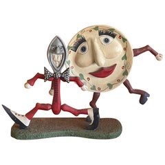 """Whimsical Folk Art Sculpture """"Dish Ran Away With the Spoon"""""""