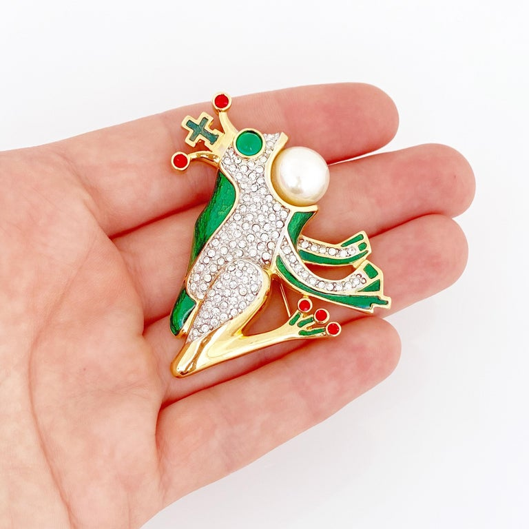 Women's Whimsical Frog Prince Figural Enamel Brooch By Butler & Wilson, 1980s For Sale