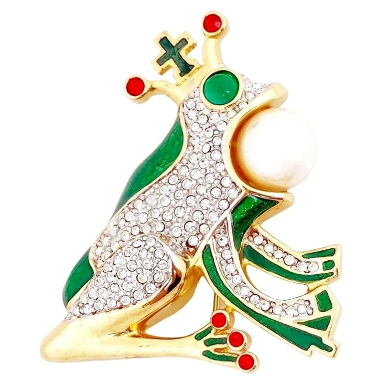 Whimsical Frog Prince Figural Enamel Brooch By Butler & Wilson, 1980s For Sale