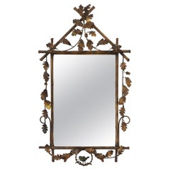 Whimsical Gilt Metal Faux Bois Mirror with Leaves and Bird