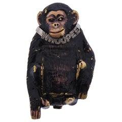 Whimsical Gold Enamel Diamond Chimpanzee Monkey Watch