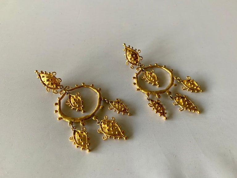 Contemporary Whimsical Gold Statement Earrings by Herve Van Der Straeten For Sale