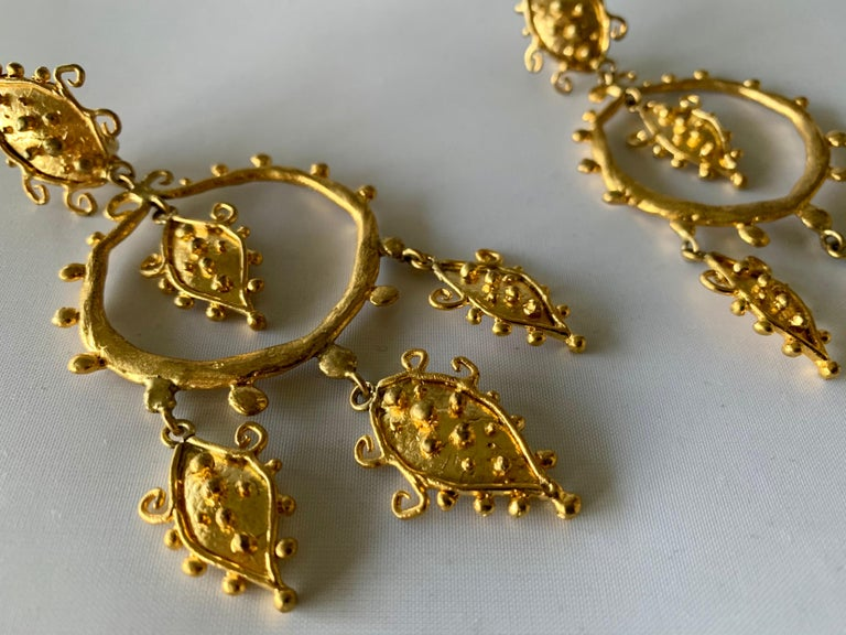 Whimsical Gold Statement Earrings by Herve Van Der Straeten In Excellent Condition For Sale In Palm Springs, CA