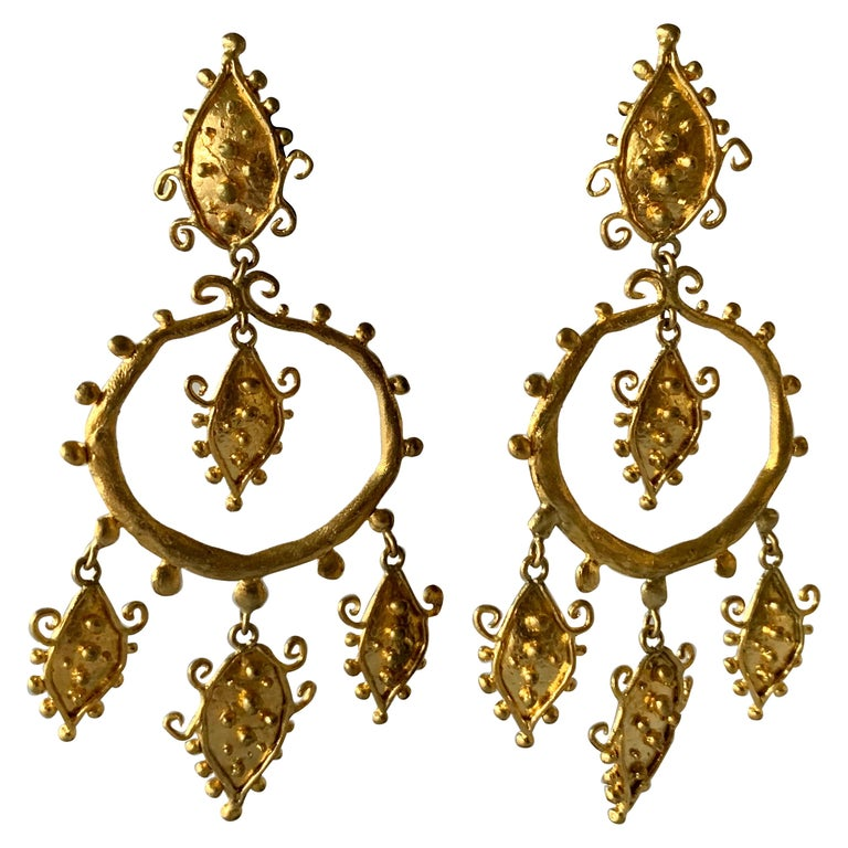 Whimsical Gold Statement Earrings by Herve Van Der Straeten For Sale