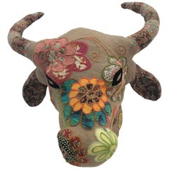 Whimsical Handmade Mixed-Media Wall Sculpture of Bull's Head with Horns