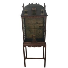 Whimsical Handcrafted Large Decorative Painted Tole and Wood Birdcage