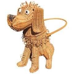 Whimsical Handmade Artisan Wicker Canine Dog Basket, circa 1950s