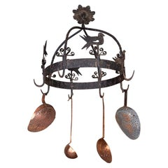 Whimsical Iron Pot Holder with Original Copper Utensils