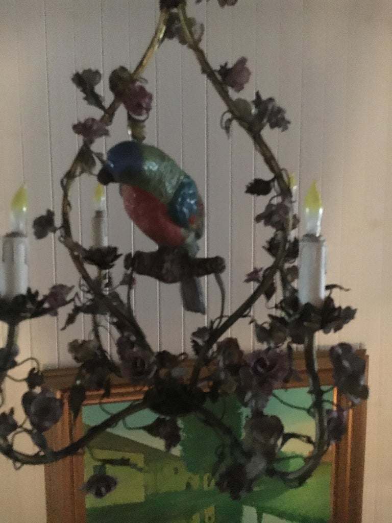 Hollywood Regency Whimsical Italian Chandelier, Porcelain Parrot, Porcelain Roses, Gilt Cage For Sale