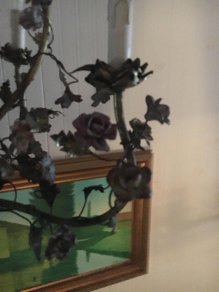 Whimsical Italian Chandelier, Porcelain Parrot, Porcelain Roses, Gilt Cage In Good Condition For Sale In Buchanan, MI