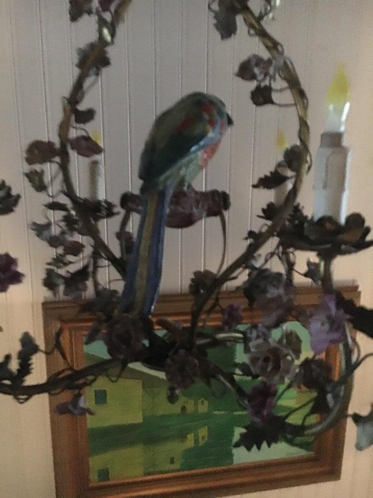 20th Century Whimsical Italian Chandelier, Porcelain Parrot, Porcelain Roses, Gilt Cage For Sale