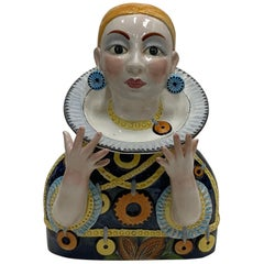 Whimsical Italian Glazed Ceramic Bust of a Woman