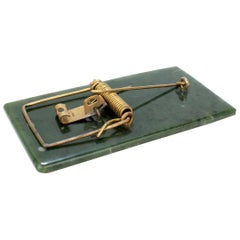 Whimsical Jade Gemstone and Gold-Plated Mouse Trap Sculpture or Desk Paper Clip