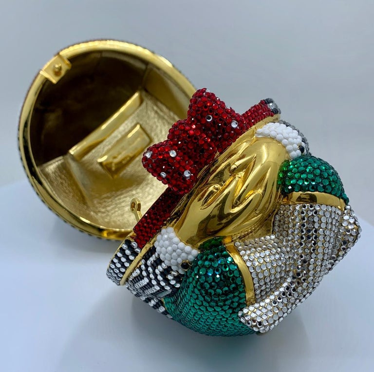 Whimsical Judith Leiber Retired Humpty Dumpty Crystal Minaudiere Evening Bag For Sale 6