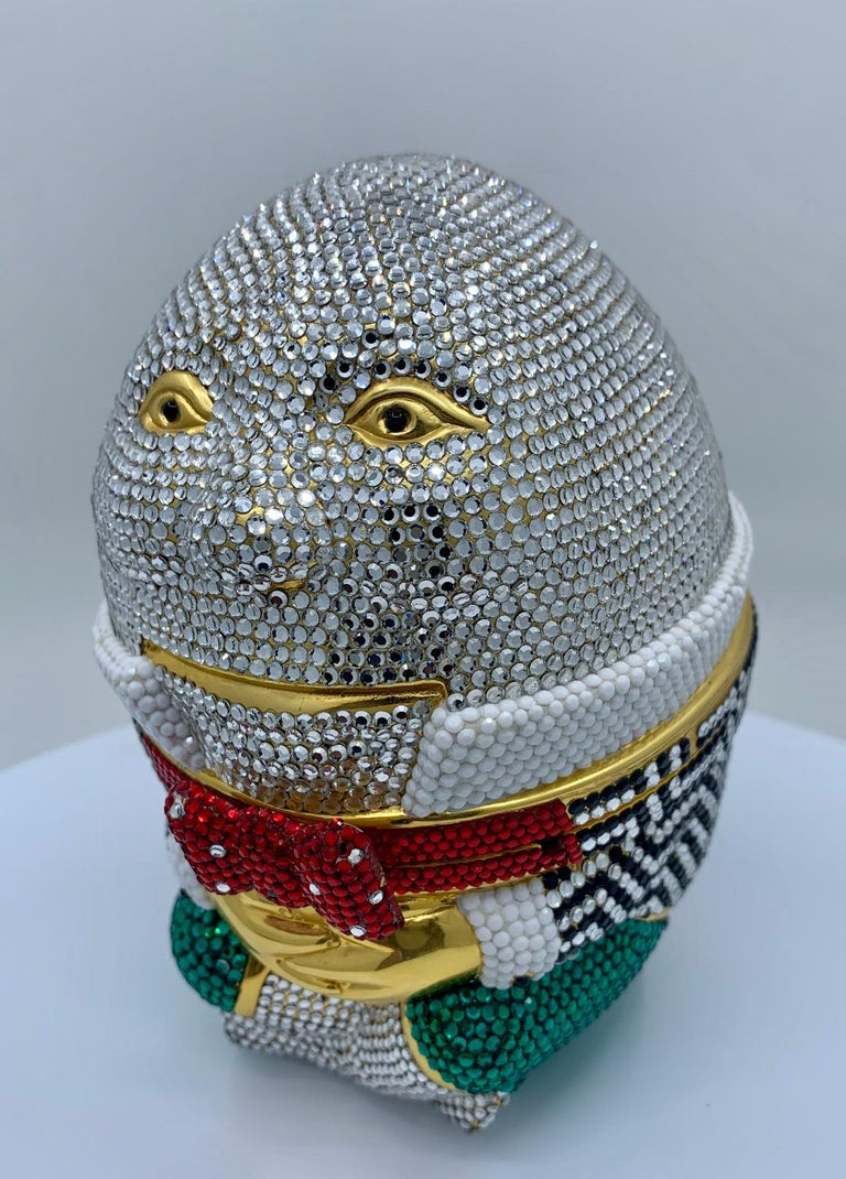 Gray Whimsical Judith Leiber Retired Humpty Dumpty Crystal Minaudiere Evening Bag For Sale