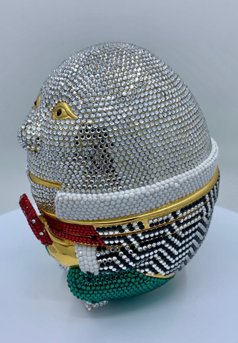 Whimsical Judith Leiber Retired Humpty Dumpty Crystal Minaudiere Evening Bag In Good Condition For Sale In Tustin, CA