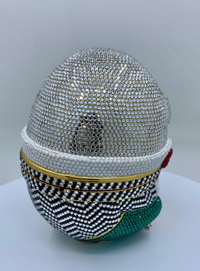 Whimsical Judith Leiber Retired Humpty Dumpty Crystal Minaudiere Evening Bag For Sale 1