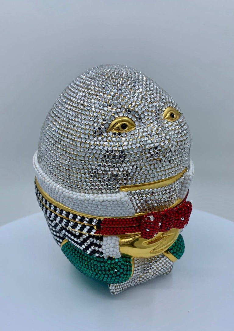 Whimsical Judith Leiber Retired Humpty Dumpty Crystal Minaudiere Evening Bag For Sale 2