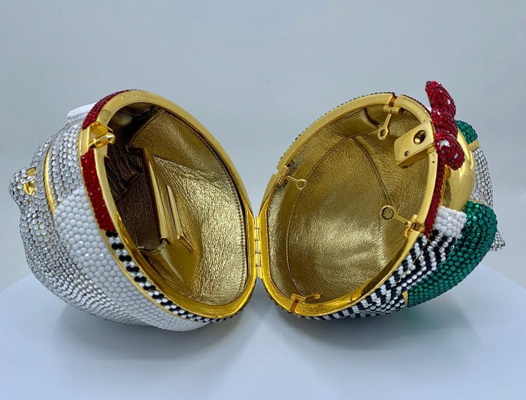 Whimsical Judith Leiber Retired Humpty Dumpty Crystal Minaudiere Evening Bag For Sale 4