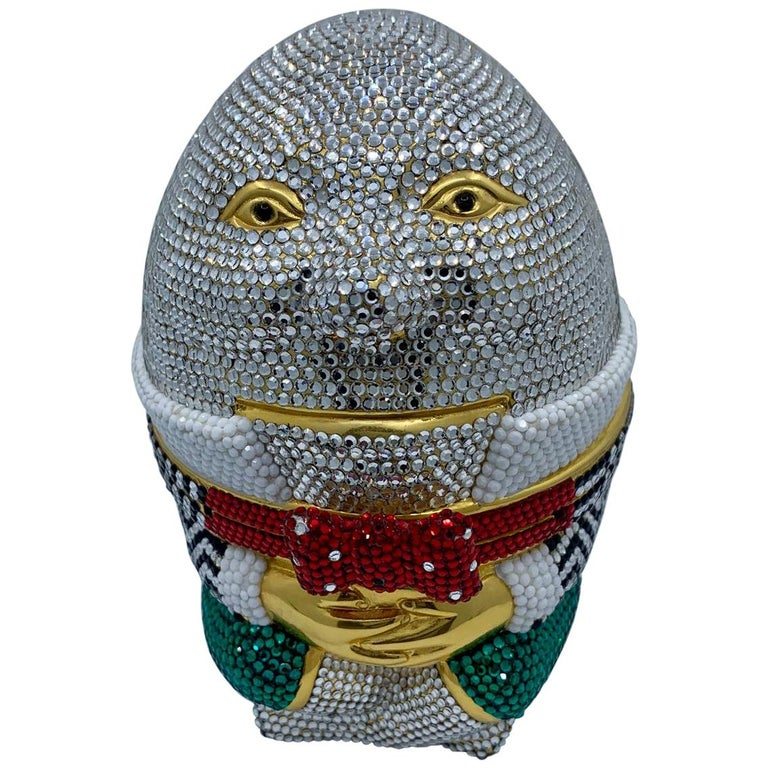 Whimsical Judith Leiber Retired Humpty Dumpty Crystal Minaudiere Evening Bag For Sale