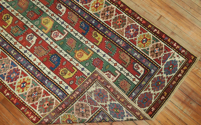 Hand-Woven Whimsical Kazak Caucasian Wide Early 20th Century Runner For Sale