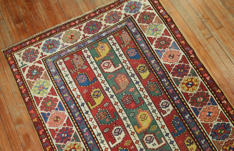 Whimsical Kazak Caucasian Wide Early 20th Century Runner In Excellent Condition For Sale In New York, NY