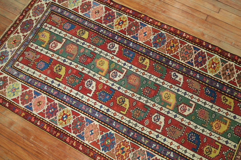 Wool Whimsical Kazak Caucasian Wide Early 20th Century Runner For Sale