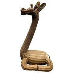 Whimsical Large Rattan Recumbent Giraffe Sculpture