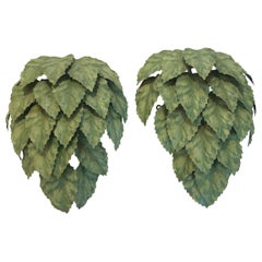 Whimsical Leaf Motife Green Tole Wall Sconces