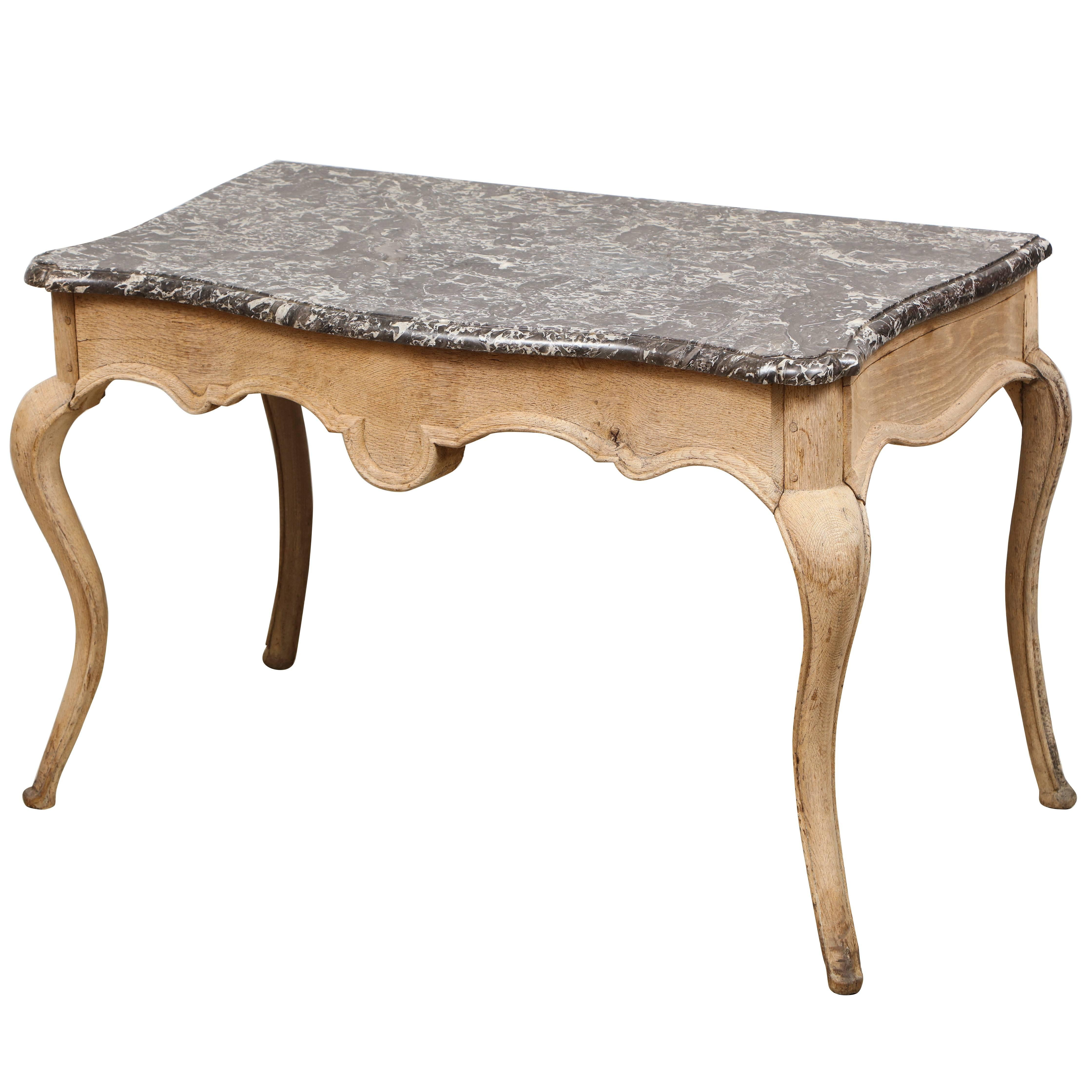 Whimsical Louis XV Style Marble Top Painted Table On Sabre Legs