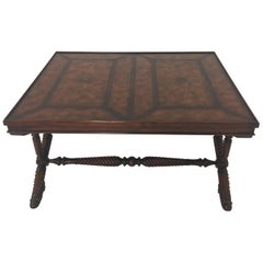 Whimsical Mahogany and Leather Theodore Alexander Coffee Table with Shoe Feet