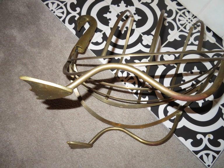Whimsical Maison Jansen Italian Swan Magazine Rack Brass Mid-Century Modern For Sale 5