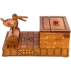 Whimsical Mechanical Bird Cigarette Box Holder Inlay Mix Woods