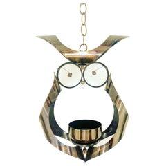 Whimsical Metal Hanging Owl Candleholder