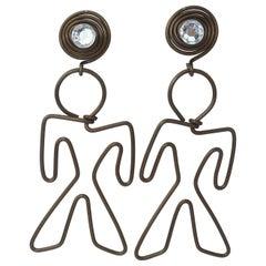 Whimsical Metal Wire Figure Earrings With Rhinestones, 1980's
