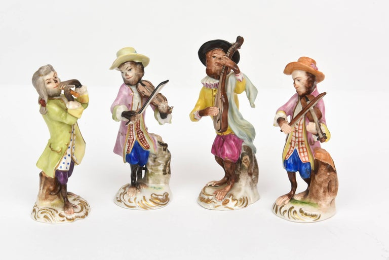 German Whimsical Monkey Band Orchestra Meissen Style, Set of 10 Hand Painted Antique For Sale