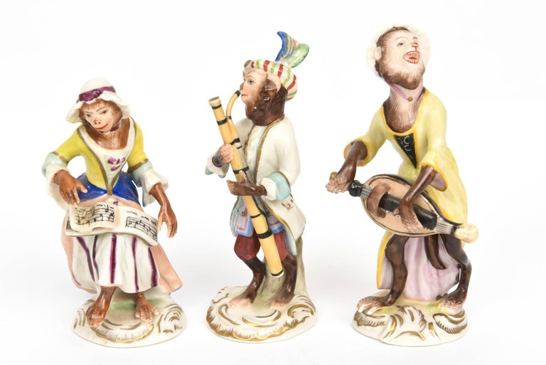 Hand-Crafted Whimsical Monkey Band Orchestra Meissen Style, Set of 10 Hand Painted Antique For Sale