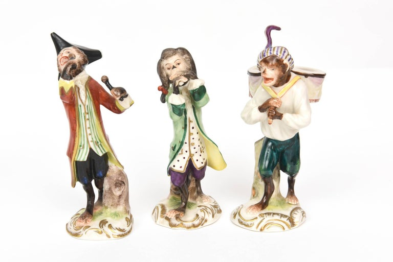Whimsical Monkey Band Orchestra Meissen Style, Set of 10 Hand Painted Antique In Good Condition For Sale In West Palm Beach, FL