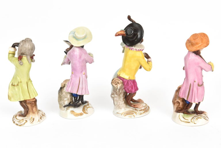 Early 20th Century Whimsical Monkey Band Orchestra Meissen Style, Set of 10 Hand Painted Antique For Sale