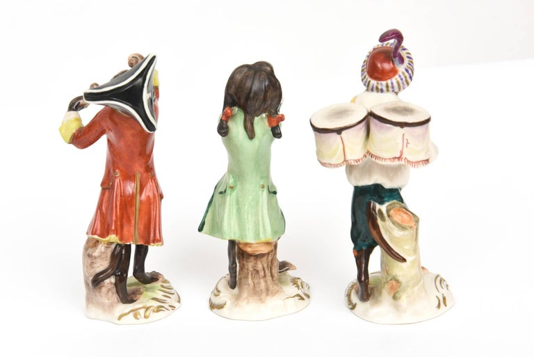 Whimsical Monkey Band Orchestra Meissen Style, Set of 10 Hand Painted Antique For Sale 1