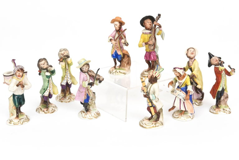 Whimsical Monkey Band Orchestra Meissen Style, Set of 10 Hand Painted Antique For Sale 2