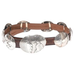 Whimsical Native American Sterling Silver Storyteller Concho Brown Leather Belt