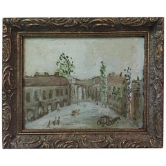 Whimsical Oil on Board of European Town Signed Spinola