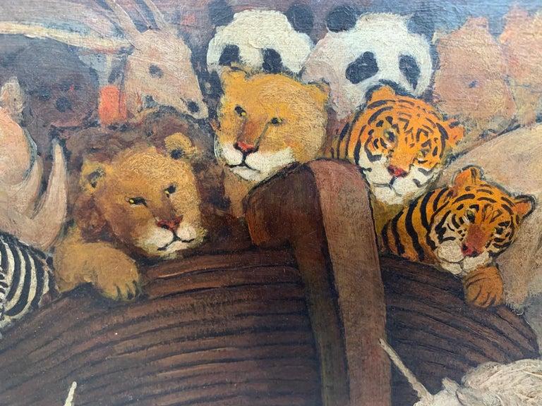American Whimsical Original Noah's Ark Painting by Charles Burdick For Sale