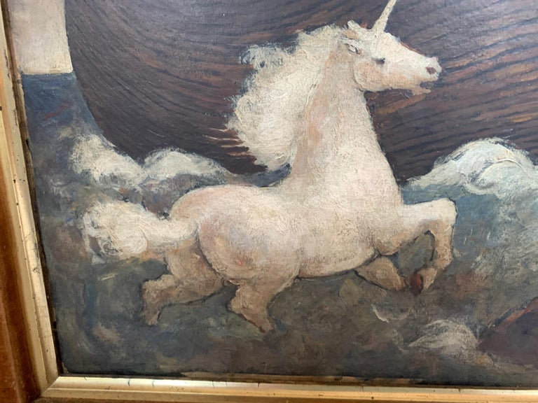 Whimsical Original Noah's Ark Painting by Charles Burdick In Excellent Condition For Sale In Hopewell, NJ